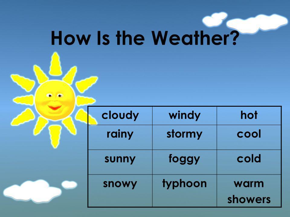 cloudywindyhot rainystormycool sunnyfoggycold snowytyphoonwarm showers