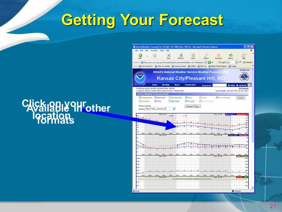 21 Getting Your Forecast Click on your location Available in other formats