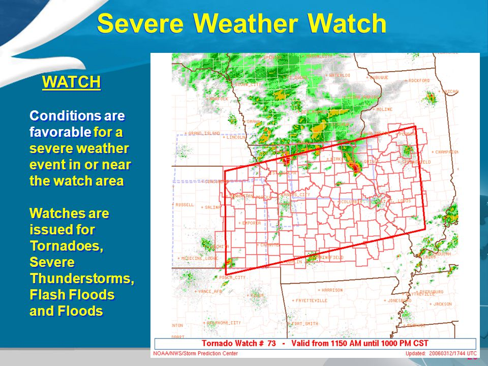 29 URGENT - IMMEDIATE BROADCAST REQUESTED TORNADO WATCH NUMBER 73 NWS STORM PREDICTION CENTER NORMAN OK 1155 AM CST SUN MAR 12 2006 THE NWS STORM PREDICTION CENTER HAS ISSUED A TORNADO WATCH FOR PORTIONS OF CENTRAL AND WESTERN ILLINOIS EASTERN KANSAS MOST OF MISSOURI EFFECTIVE THIS SUNDAY MORNING AND EVENING FROM 1155 AM UNTIL 1000 PM CST....THIS IS A PARTICULARLY DANGEROUS SITUATION...