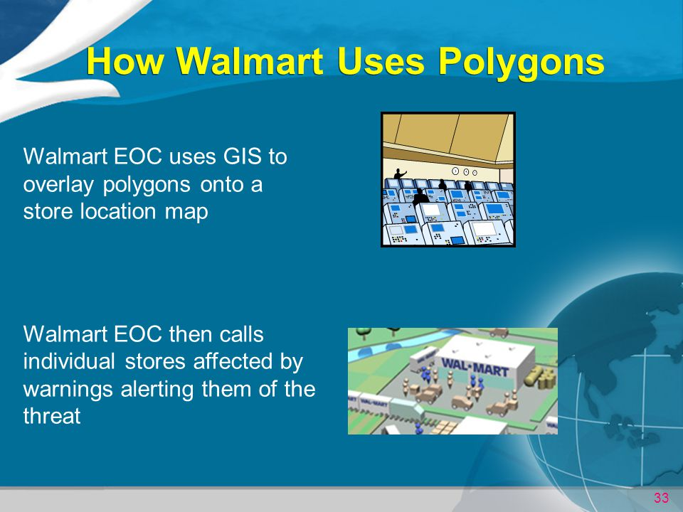 33 How Walmart Uses Polygons Walmart EOC uses GIS to overlay polygons onto a store location map Walmart EOC then calls individual stores affected by warnings alerting them of the threat