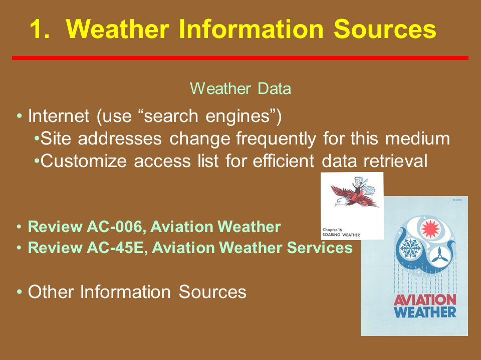 1. Weather Information Sources Weather Data Internet (use search engines) Site addresses change frequently for this medium Customize access list for e