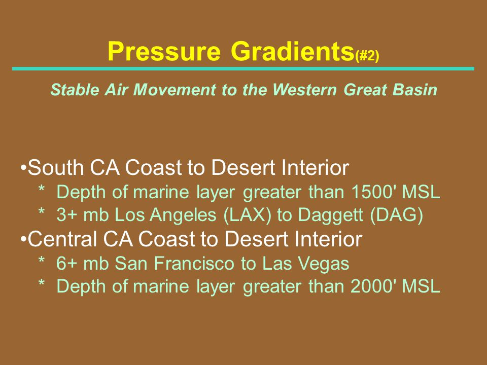 Pressure Gradients (#2) Stable Air Movement to the Western Great Basin South CA Coast to Desert Interior * Depth of marine layer greater than 1500' MS