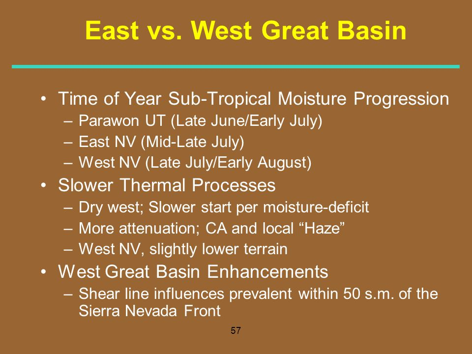 57 East vs. West Great Basin Time of Year Sub-Tropical Moisture Progression –Parawon UT (Late June/Early July) –East NV (Mid-Late July) –West NV (Late
