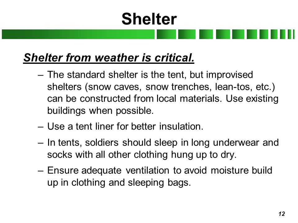 12 Shelter Shelter from weather is critical. –The standard shelter is the tent, but improvised shelters (snow caves, snow trenches, lean-tos, etc.) ca