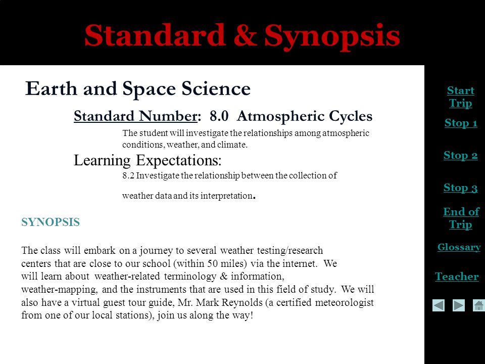 Start Trip Stop 2 Stop 3 End of Trip Glossary Teacher Stop 1 Standard & Synopsis Earth and Space Science Standard Number: 8.0 Atmospheric Cycles The student will investigate the relationships among atmospheric conditions, weather, and climate.