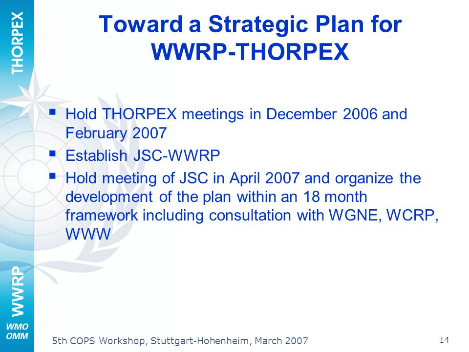 WWRP 14 5th COPS Workshop, Stuttgart-Hohenheim, March 2007 Toward a Strategic Plan for WWRP-THORPEX Hold THORPEX meetings in December 2006 and Februar