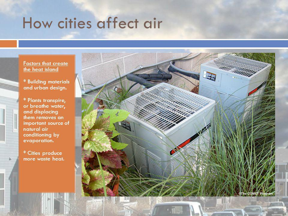 How cities affect air Factors that create the heat island * Building materials and urban design. * Plants transpire, or breathe water, and displacing