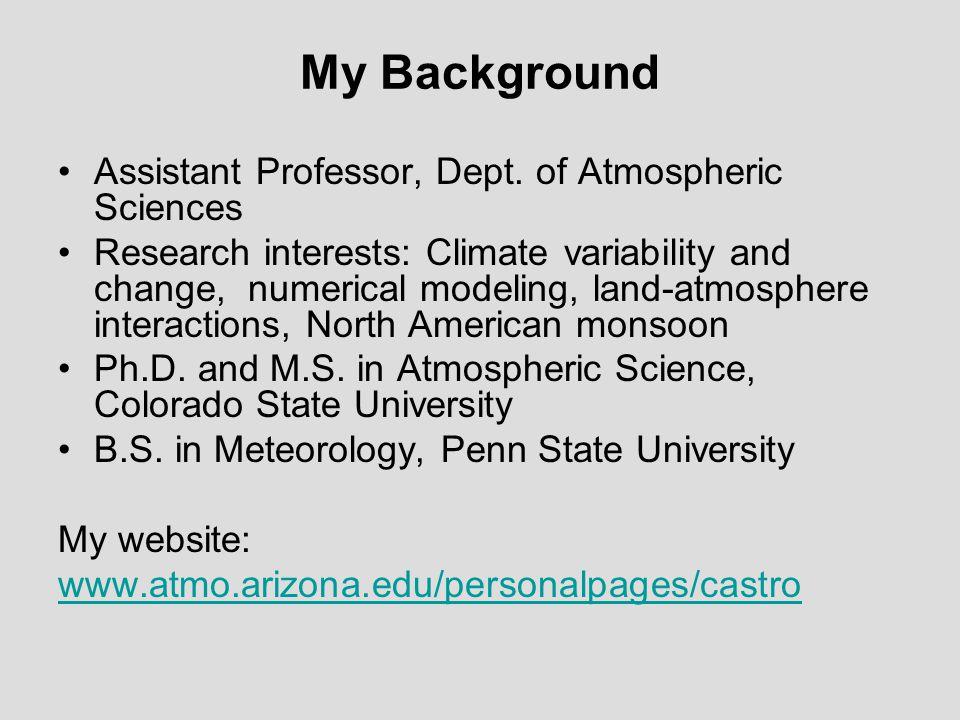 My Background Assistant Professor, Dept.