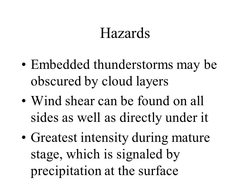 Types of Thunderstorms Airmass thunderstorms are usually isolated or scattered over a large area Frontal thunderstorms associated with frontal activity Squall line is a narrow band of active thunderstorms normally containing severe weather