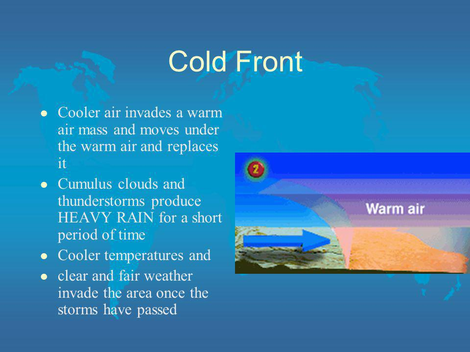 Cold Front l Cooler air invades a warm air mass and moves under the warm air and replaces it l Cumulus clouds and thunderstorms produce HEAVY RAIN for
