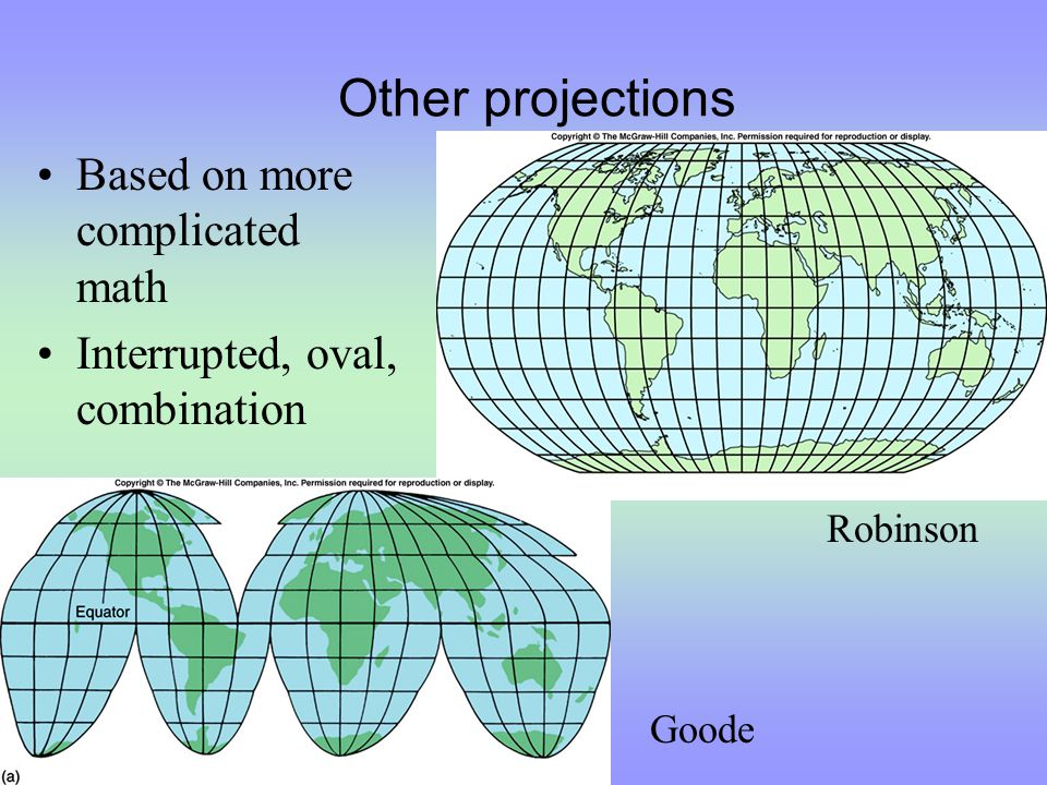 Other projections Based on more complicated math Interrupted, oval, combination Goode Robinson