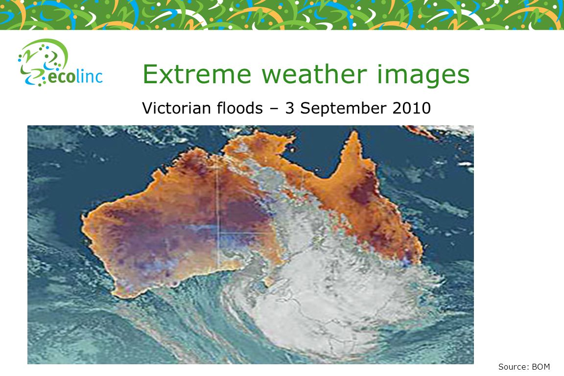 Weather maps Illustrates the meteorological conditions of an area at a specific time Shows what the weather is currently doing Shows what type of weather is expected during the hours and days ahead Source: BOM