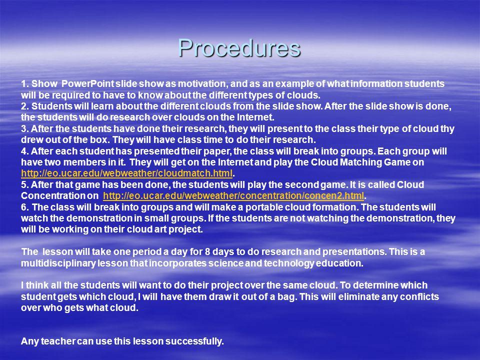 Procedures 1.