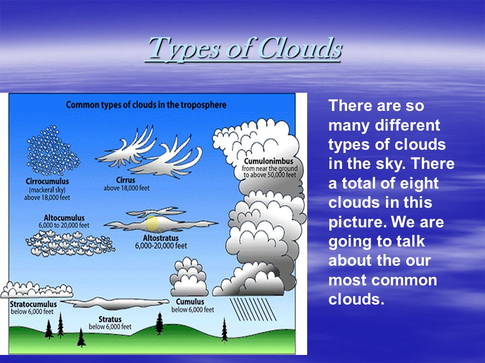 Types of Clouds There are so many different types of clouds in the sky.