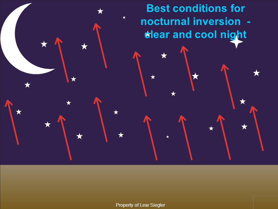 TEMPERATURE INVERSIONS WARMER AIR ABOVE COLDER AIR NOCTURNAL FRONTAL Property of Lear Siegler