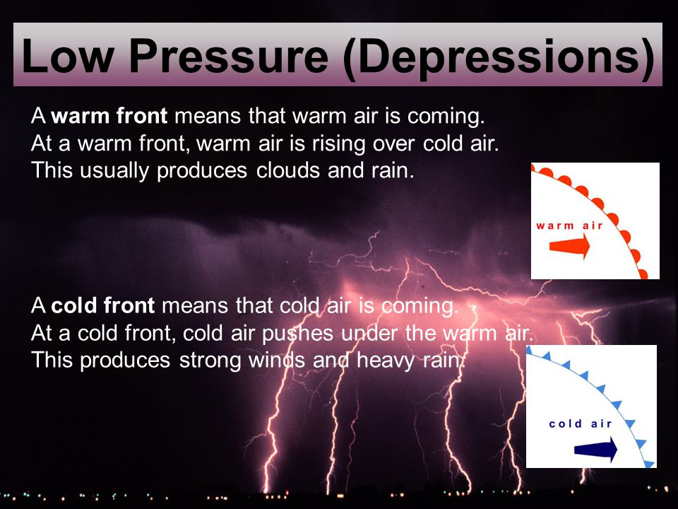 Low Pressure (Depressions) A cold front means that cold air is coming.
