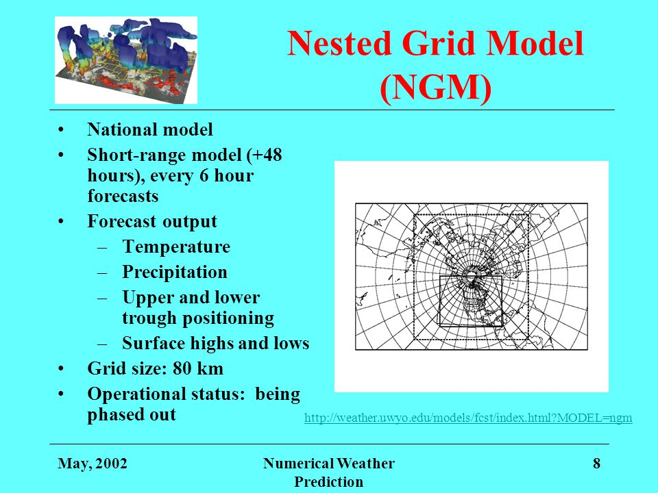May, 2002Numerical Weather Prediction 8 Nested Grid Model (NGM) National model Short-range model (+48 hours), every 6 hour forecasts Forecast output –