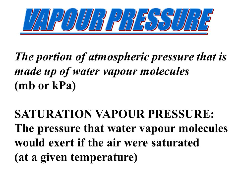 A ratio that compares the amount of water vapour in the air to the maximum water vapour capacity at that temperature The relative humidity of saturated air is 100% RH = [H 2 0 vapour content/H 2 0 capacity] x 100