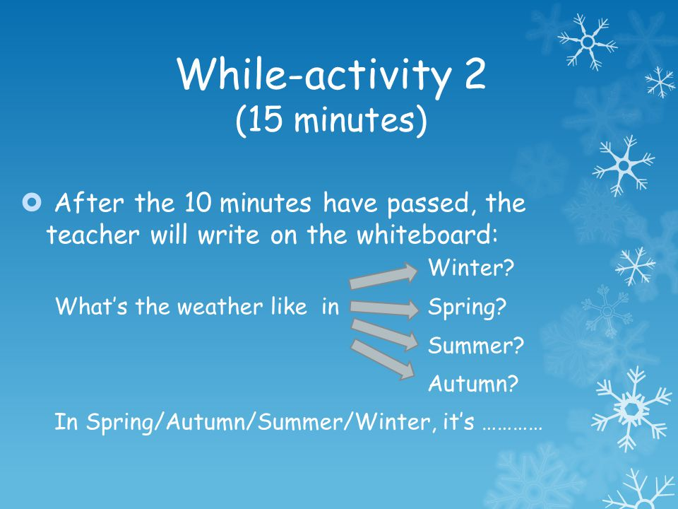 While-activity 2 (15 minutes) After the 10 minutes have passed, the teacher will write on the whiteboard: Winter? Whats the weather like in Spring? Su