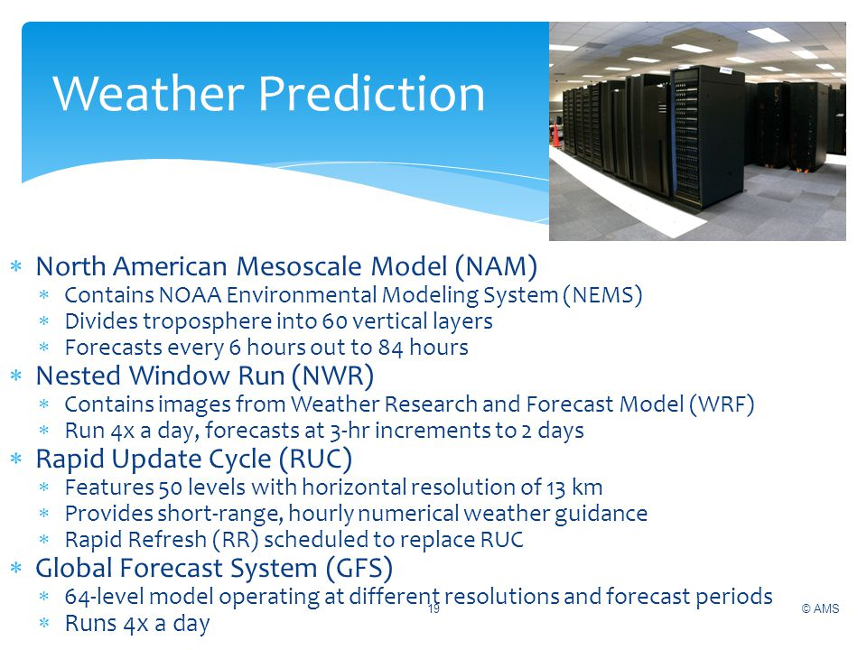 North American Mesoscale Model (NAM) Contains NOAA Environmental Modeling System (NEMS) Divides troposphere into 60 vertical layers Forecasts every 6