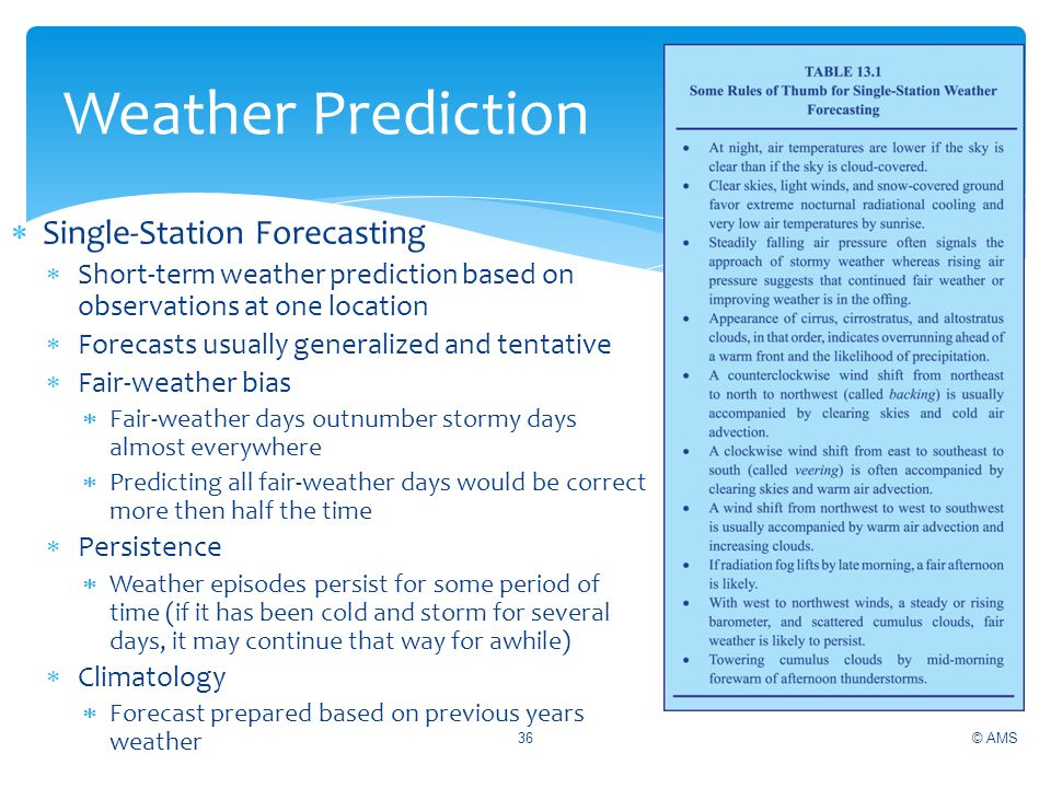 Single-Station Forecasting Short-term weather prediction based on observations at one location Forecasts usually generalized and tentative Fair-weathe