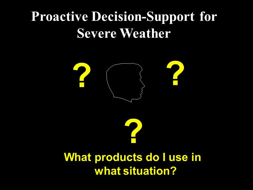 Proactive Decision-Support for Severe Weather ? ? ? What products do I use in what situation?