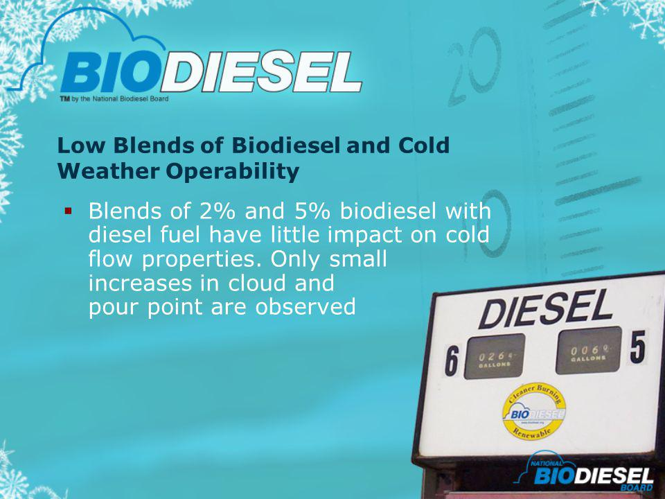 Low Blends of Biodiesel and Cold Weather Operability Blends of 2% and 5% biodiesel with diesel fuel have little impact on cold flow properties. Only s