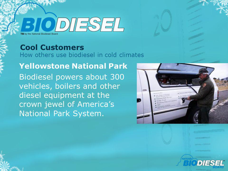 Cool Customers Yellowstone National Park Biodiesel powers about 300 vehicles, boilers and other diesel equipment at the crown jewel of Americas Nation