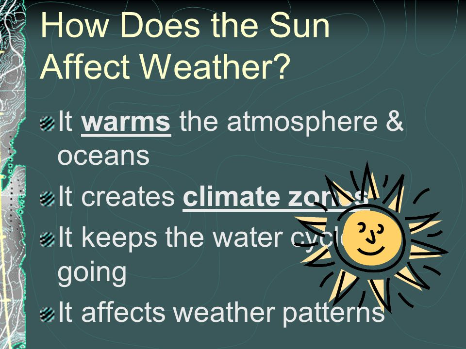 What Factors Affect Weather & Climate? The Sun The Sun The Water Cycle The Water Cycle The Atmosphere The Atmosphere The Ocean The Ocean