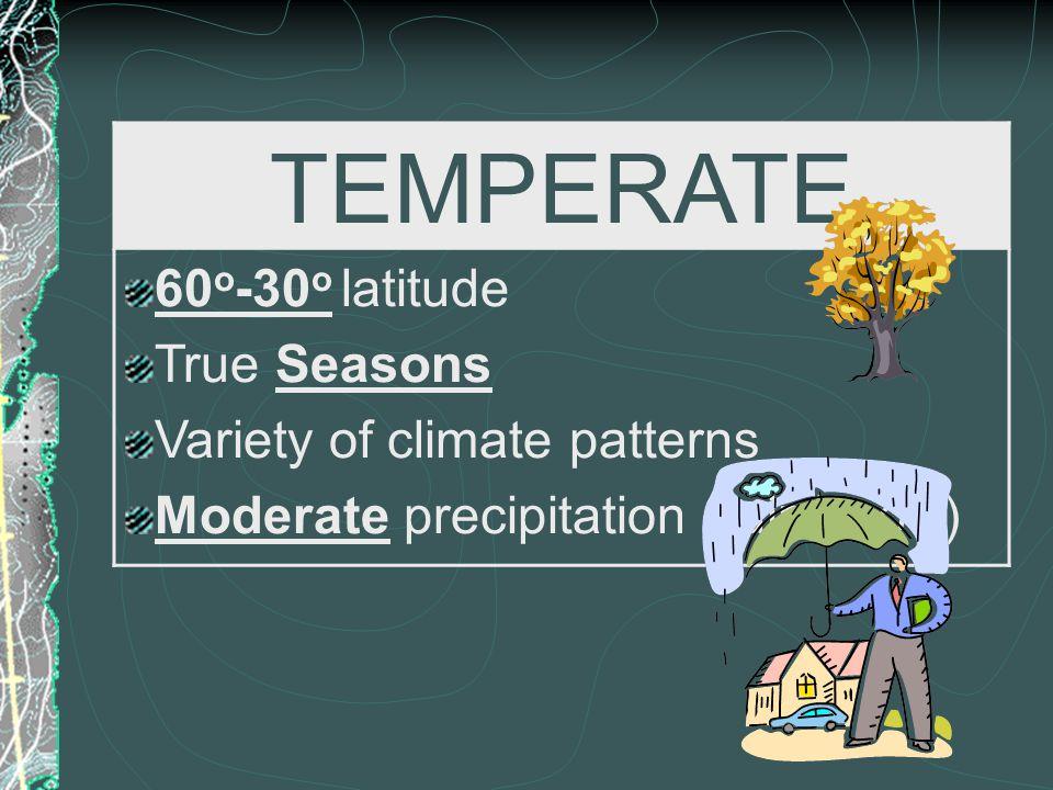 TEMPERATE 60 o -30 o latitude True Seasons Variety of climate patterns Moderate precipitation (rain/snow)
