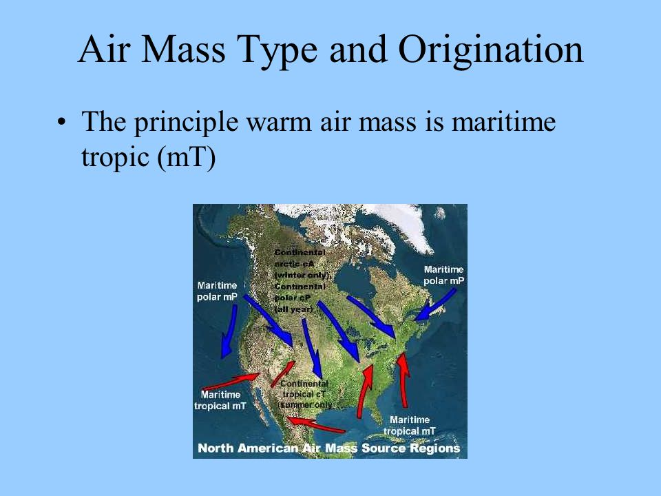 Air Mass Type and Origination The principle warm air mass is maritime tropic (mT)