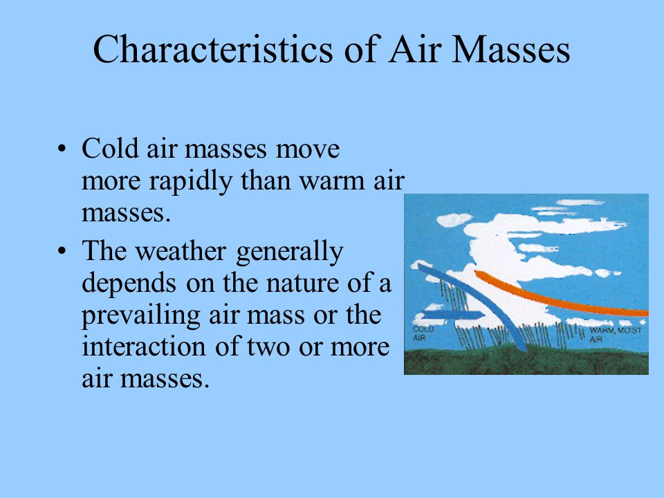 Characteristics of Air Masses Cold air masses move more rapidly than warm air masses. The weather generally depends on the nature of a prevailing air