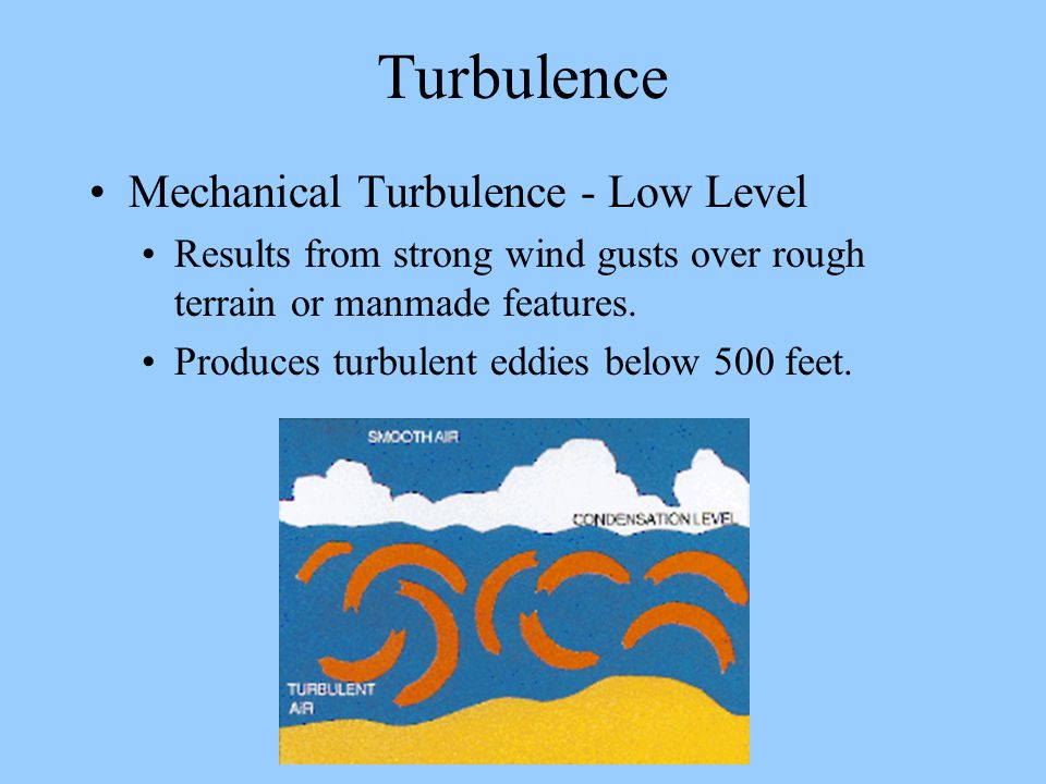 Turbulence Mechanical Turbulence - Low Level Results from strong wind gusts over rough terrain or manmade features. Produces turbulent eddies below 50