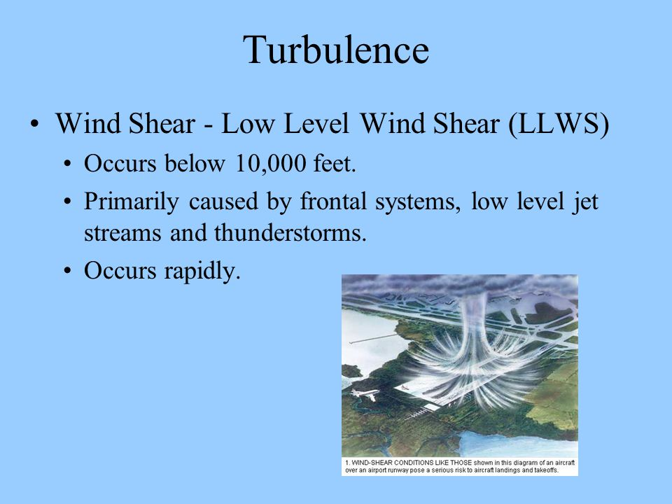 Turbulence Wind Shear - Low Level Wind Shear (LLWS) Occurs below 10,000 feet. Primarily caused by frontal systems, low level jet streams and thunderst