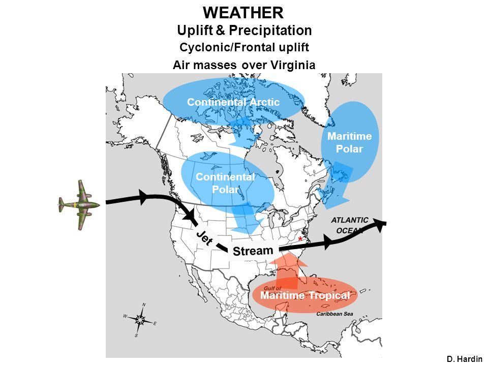 Uplift & Precipitation Cyclonic/Frontal uplift Air masses over Virginia * Continental Arctic Maritime Polar D.
