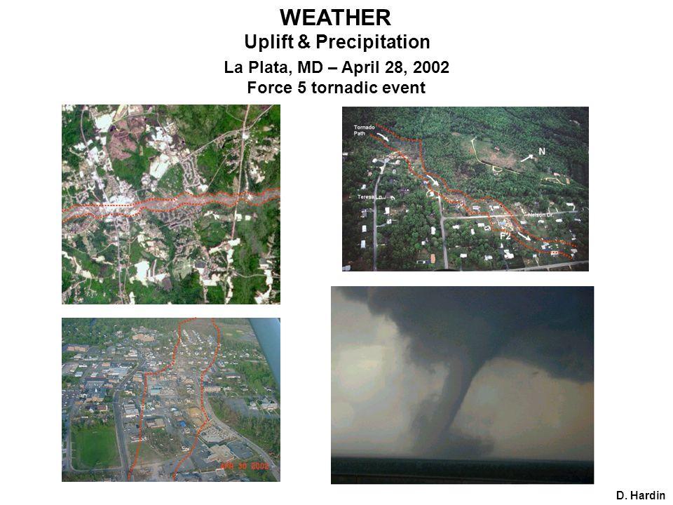 D. Hardin Uplift & Precipitation La Plata, MD – April 28, 2002 Force 5 tornadic event WEATHER