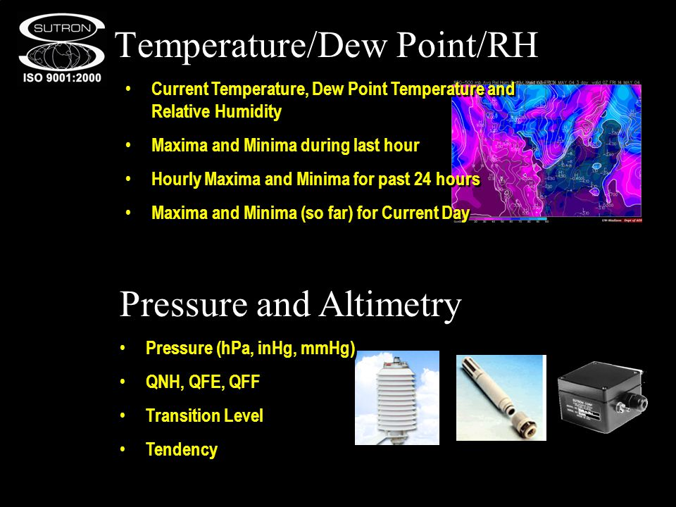 Temperature/Dew Point/RH Pressure and Altimetry Current Temperature, Dew Point Temperature and Relative Humidity Maxima and Minima during last hour Hourly Maxima and Minima for past 24 hours Maxima and Minima (so far) for Current Day Current Temperature, Dew Point Temperature and Relative Humidity Maxima and Minima during last hour Hourly Maxima and Minima for past 24 hours Maxima and Minima (so far) for Current Day Pressure (hPa, inHg, mmHg) QNH, QFE, QFF Transition Level Tendency Pressure (hPa, inHg, mmHg) QNH, QFE, QFF Transition Level Tendency