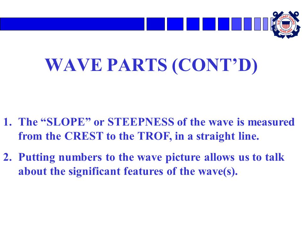 WAVE PARTS (CONTD) 1.The SLOPE or STEEPNESS of the wave is measured from the CREST to the TROF, in a straight line. 2.Putting numbers to the wave pict