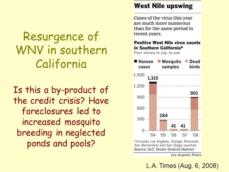 Resurgence of WNV in southern California Is this a by-product of the credit crisis? Have foreclosures led to increased mosquito breeding in neglected