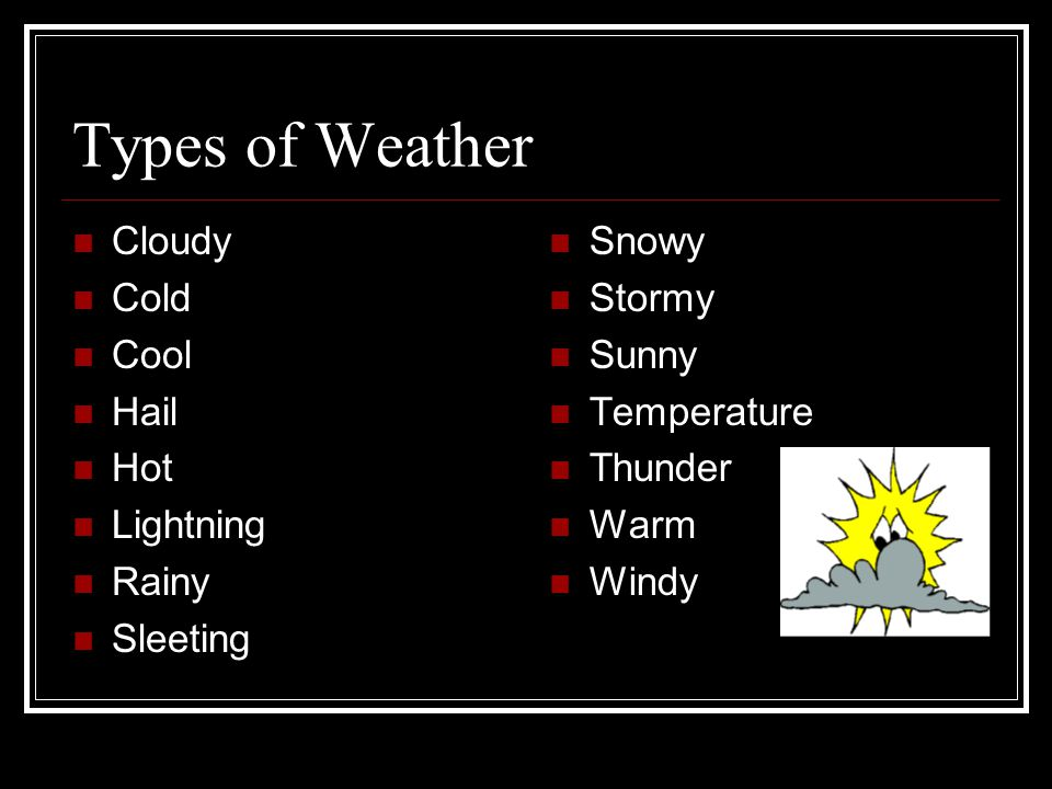Types of Weather Cloudy Cold Cool Hail Hot Lightning Rainy Sleeting Snowy Stormy Sunny Temperature Thunder Warm Windy