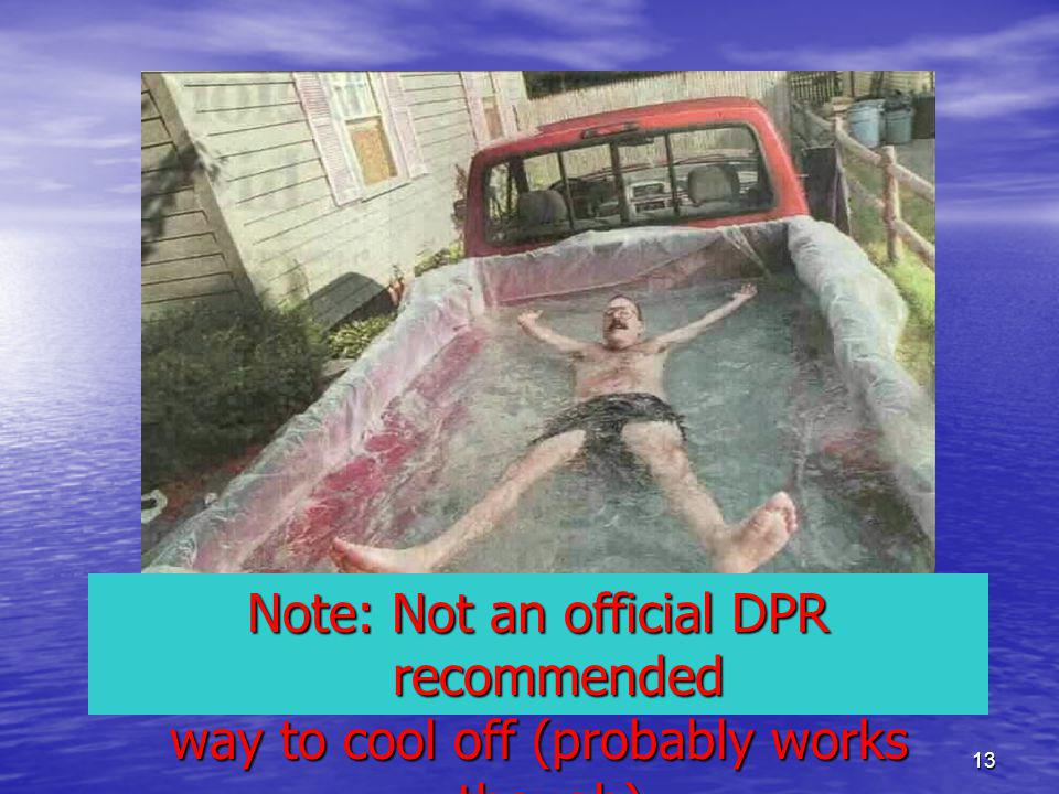13 Note: Not an official DPR recommended way to cool off (probably works though).