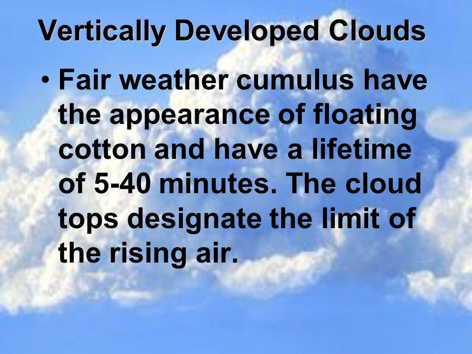 Vertically Developed Clouds Fair weather cumulus have the appearance of floating cotton and have a lifetime of 5-40 minutes. The cloud tops designate