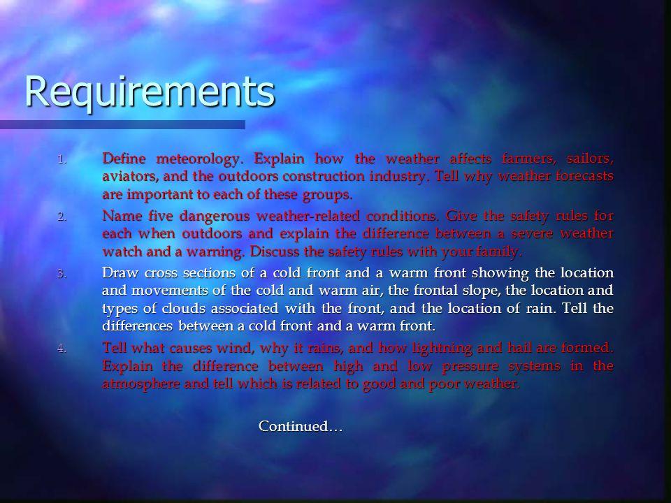 Requirements 1. Define meteorology.