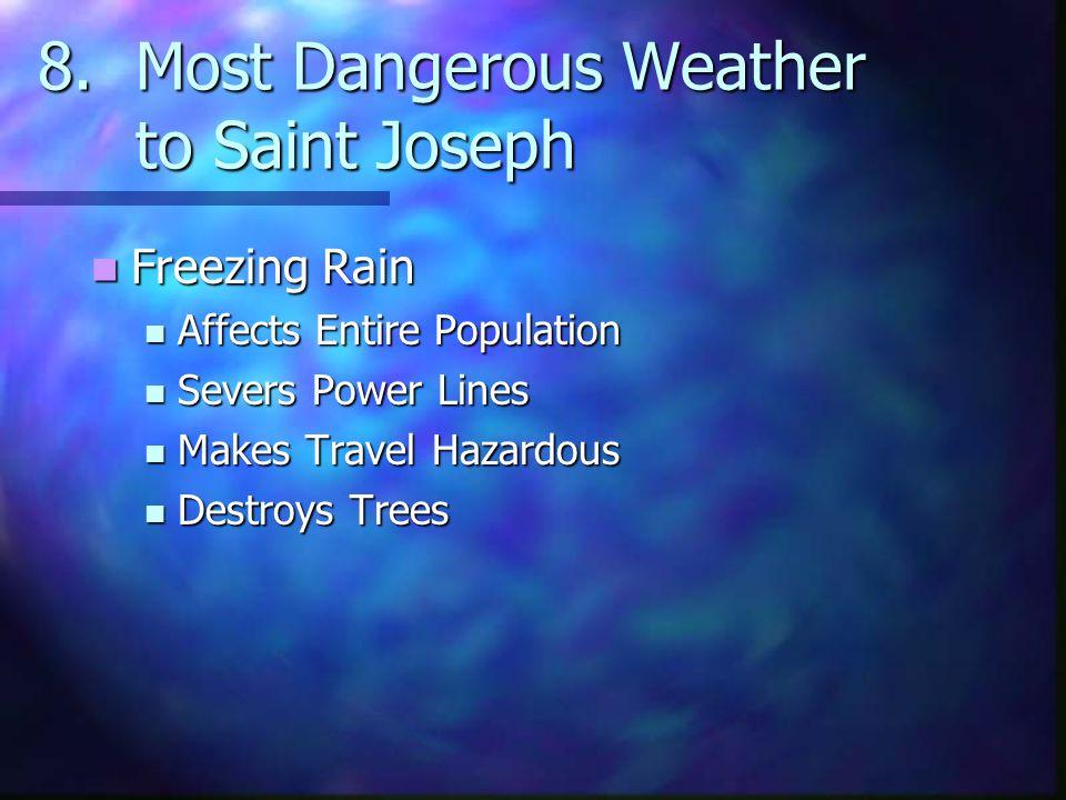 8.Most Dangerous Weather to Saint Joseph Freezing Rain Freezing Rain Affects Entire Population Affects Entire Population Severs Power Lines Severs Power Lines Makes Travel Hazardous Makes Travel Hazardous Destroys Trees Destroys Trees