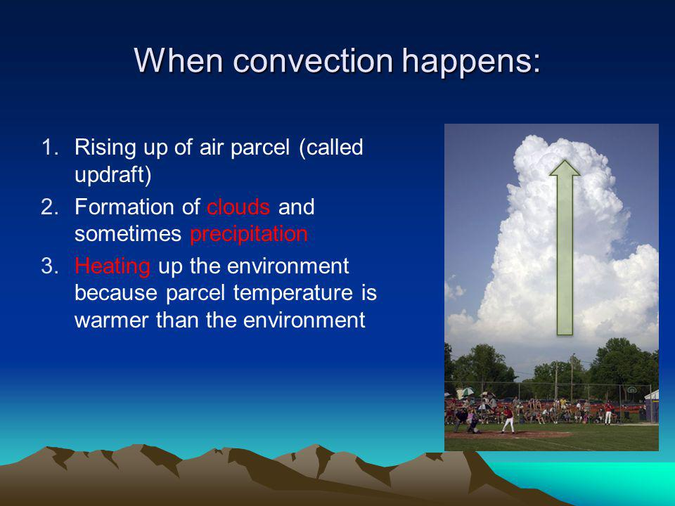 When convection happens: 1.Rising up of air parcel (called updraft) 2.Formation of clouds and sometimes precipitation 3.Heating up the environment because parcel temperature is warmer than the environment