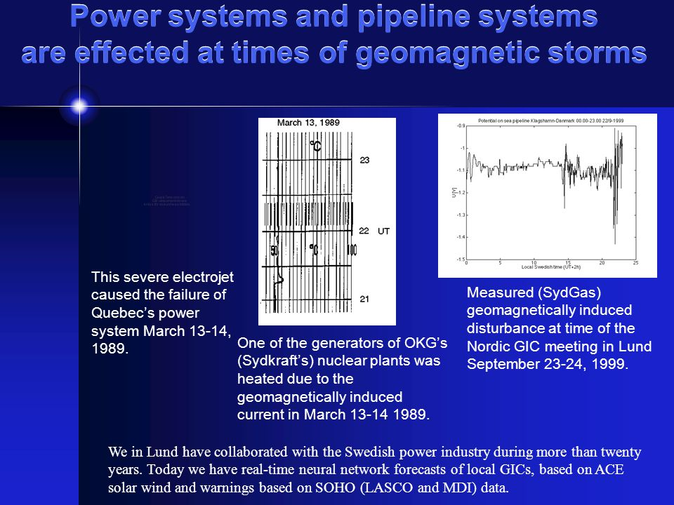Power systems and pipeline systems are effected at times of geomagnetic storms This severe electrojet caused the failure of Quebecs power system March 13-14, 1989.