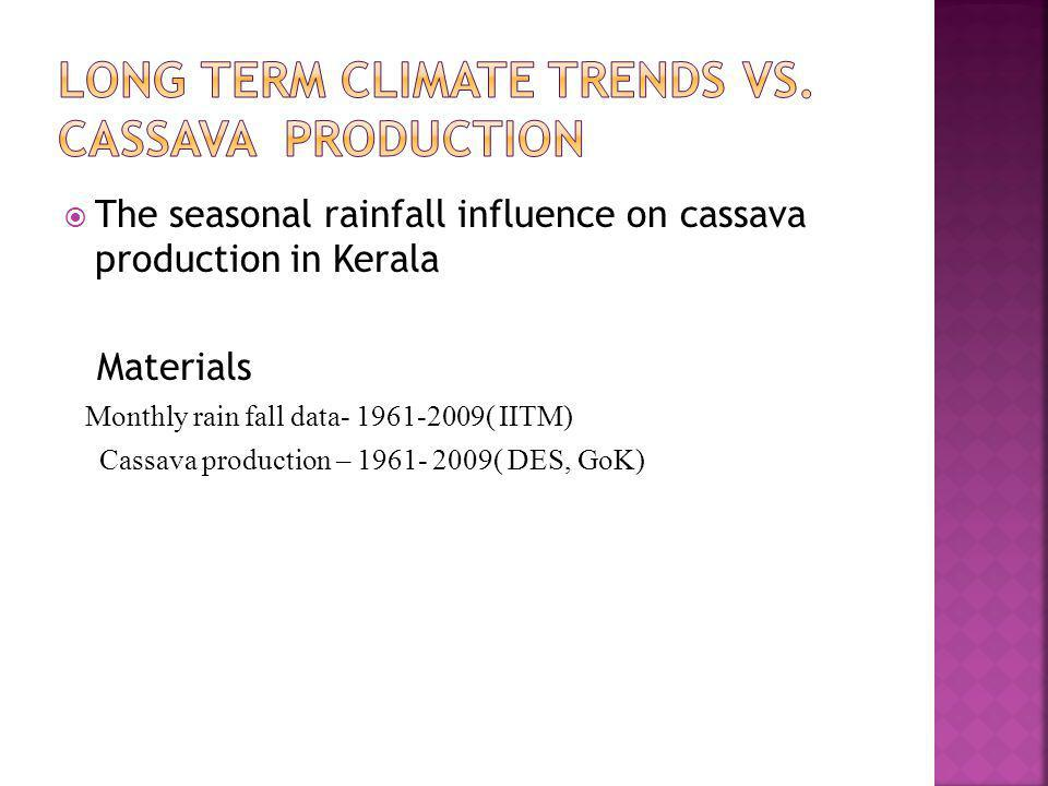 The seasonal rainfall influence on cassava production in Kerala Materials Monthly rain fall data- 1961-2009( IITM) Cassava production – 1961- 2009( DE