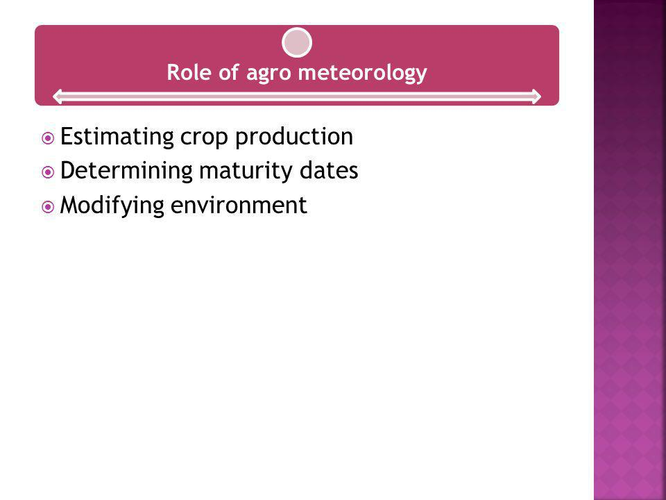Role of agro meteorology Estimating crop production Determining maturity dates Modifying environment
