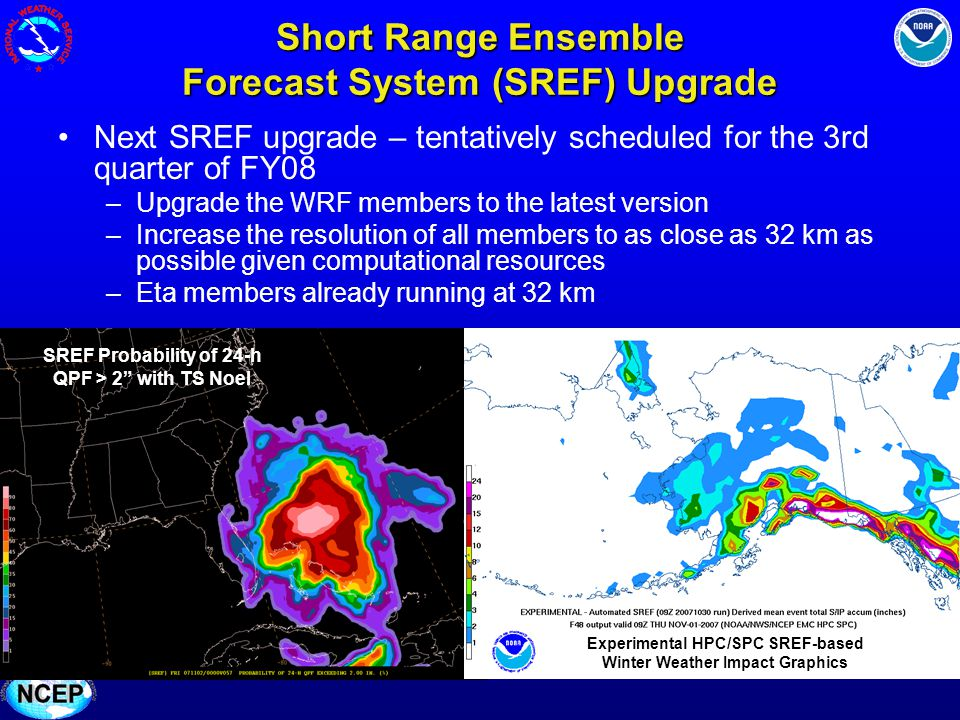 Short Range Ensemble Forecast System (SREF) Upgrade Next SREF upgrade – tentatively scheduled for the 3rd quarter of FY08 –Upgrade the WRF members to the latest version –Increase the resolution of all members to as close as 32 km as possible given computational resources –Eta members already running at 32 km SREF Probability of 24-h QPF > 2 with TS Noel Experimental HPC/SPC SREF-based Winter Weather Impact Graphics
