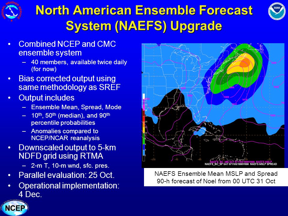 North American Ensemble Forecast System (NAEFS) Upgrade Combined NCEP and CMC ensemble system –40 members, available twice daily (for now) Bias correc